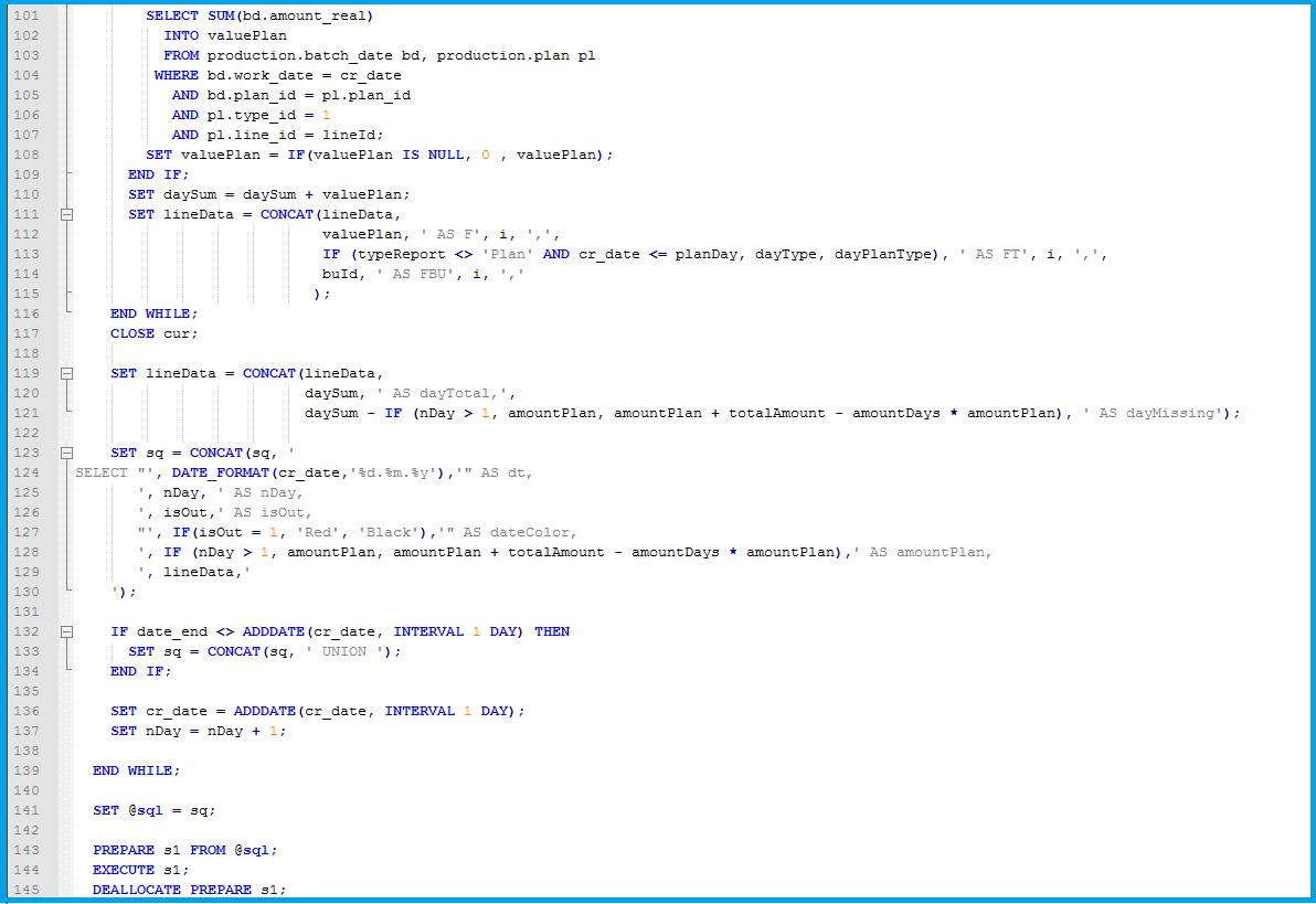 Пример процедуры mySQL.