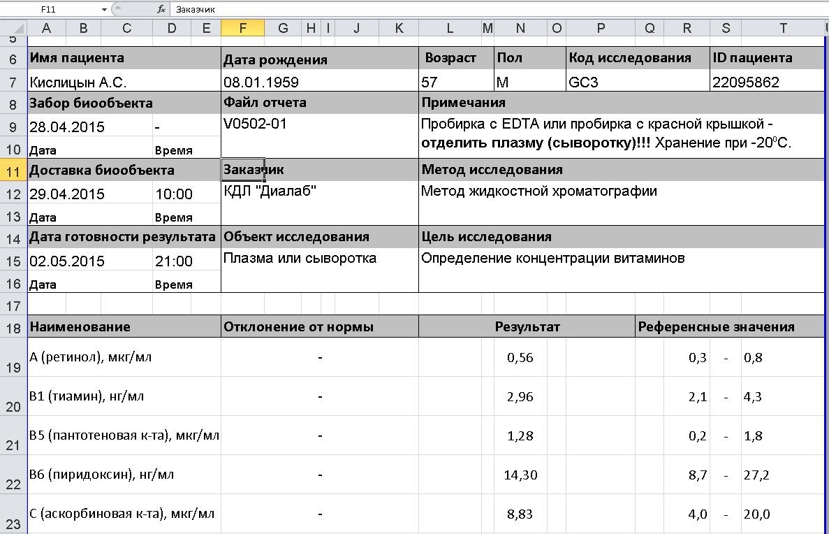Result form in MS Excel format / Бланк результатов в формате MS Excel