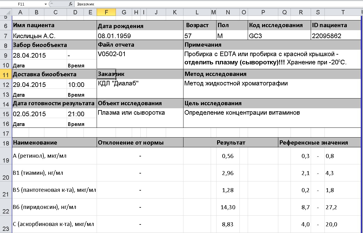 Result form in MS Excel format / Бланк результатов в формате MS Excel